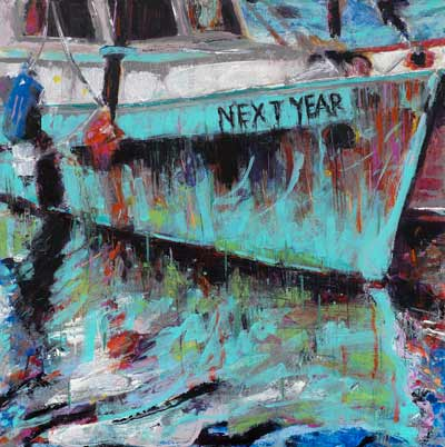 abstract fishing boat painting